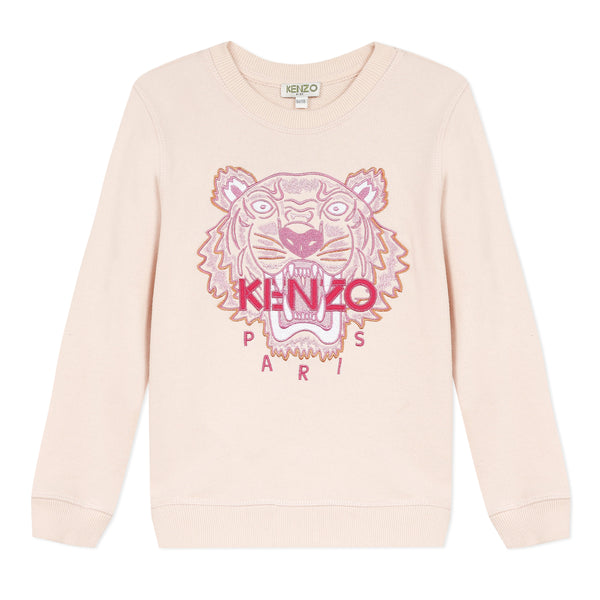Pale pink sweatshirt with embroidered tiger