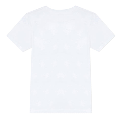 White short sleeved T-shirt with tiger