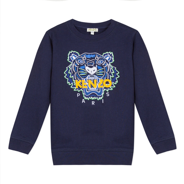 Navy blue sweatshirt with a tiger