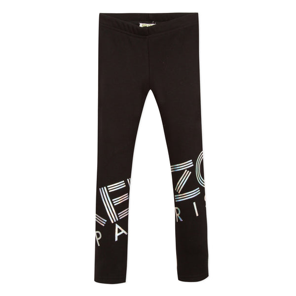 Fleece lined black logo leggings