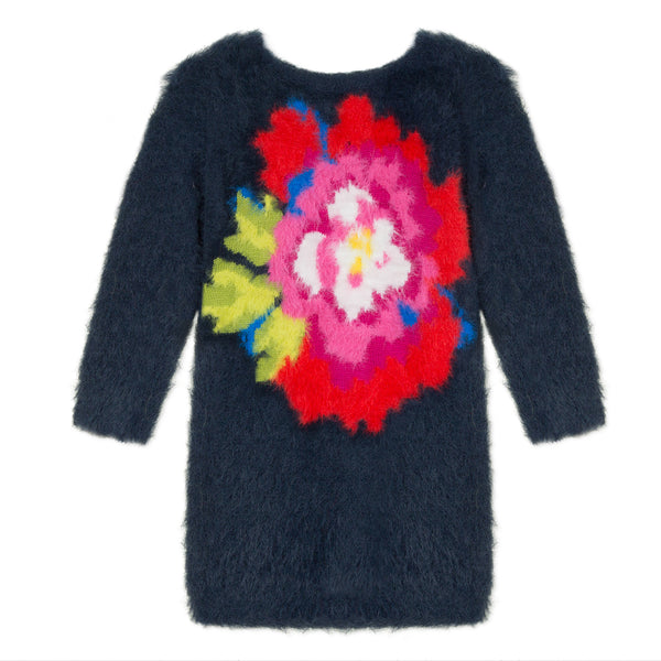 Navy blue knitted dress with flower