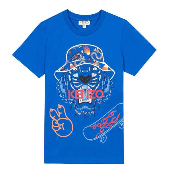 Blue T-shirt with tiger visual