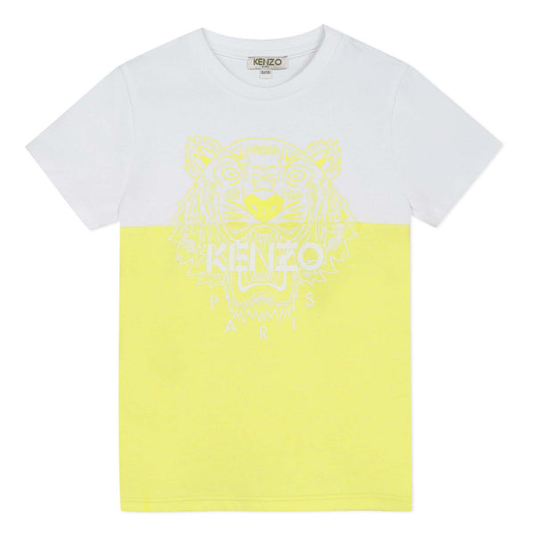 Yellow and white T-shirt with tiger