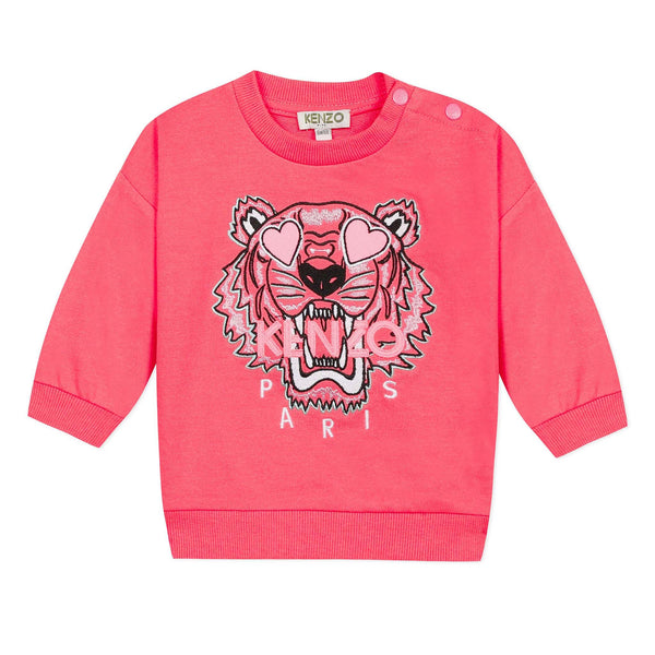 Neon pink sweatshirt with tiger icon