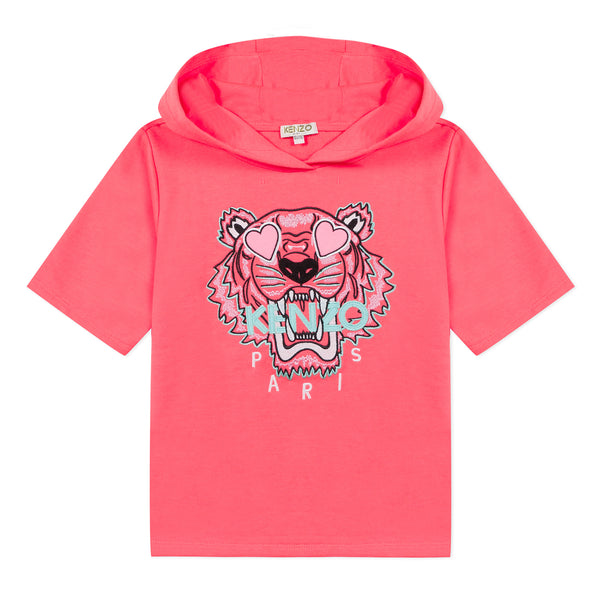 Neon pink short sleeves hoodie with tiger