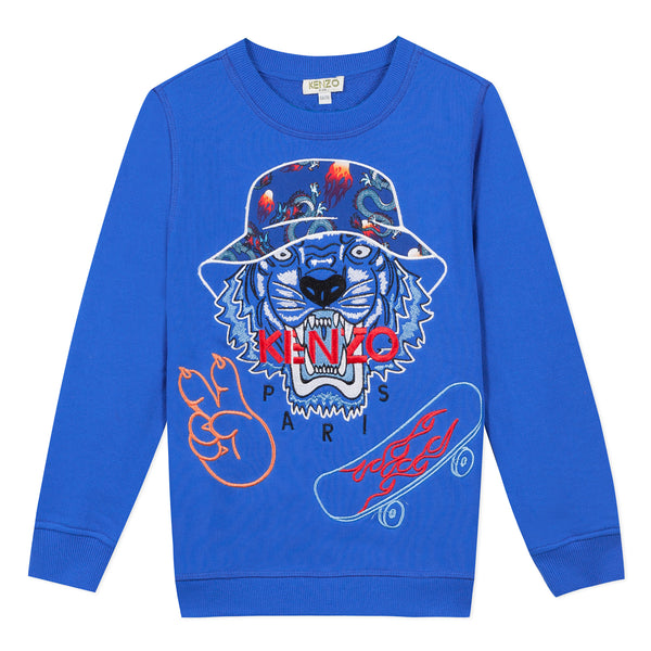Royal blue sweatshirt with tiger