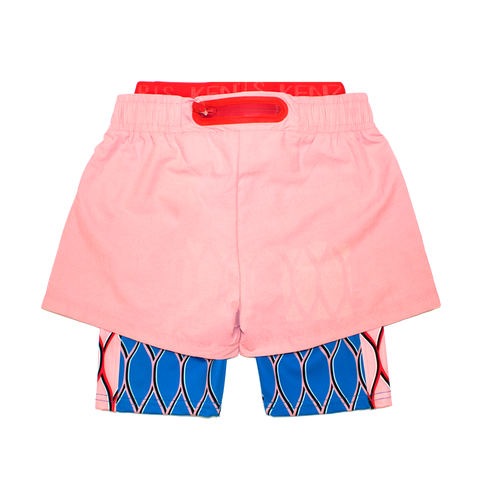 2 in 1 legging with pink shorts