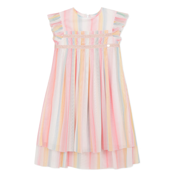 Rainbow pleated dress in tulle
