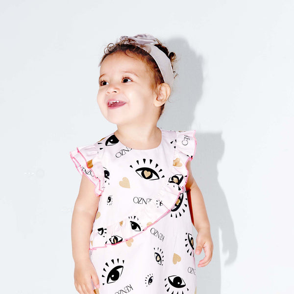 Printed dress with bloomers and gold hairband