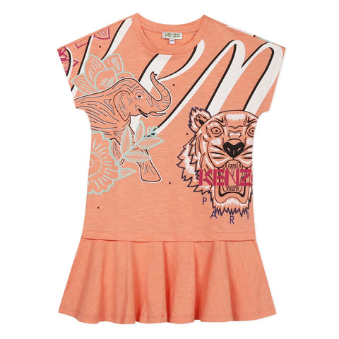 Peach pink dress with icon animals