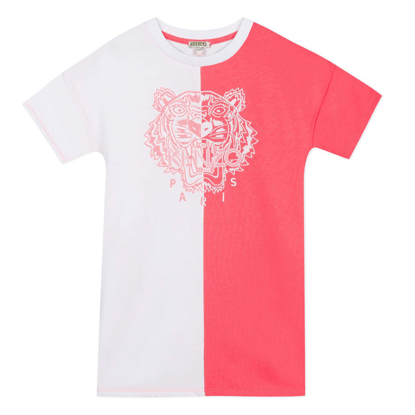 White and pink tiger T-shirt dress