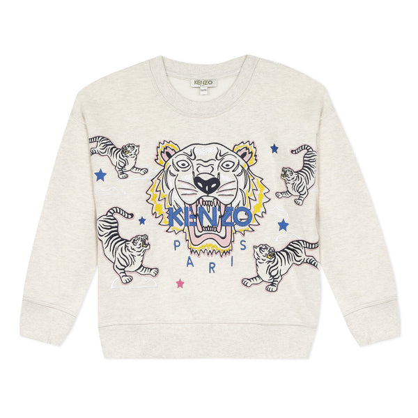 *NEW* Beige sweatshirt with embroidered tiger