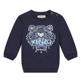 Navy blue sweatshirt with embroidered tiger