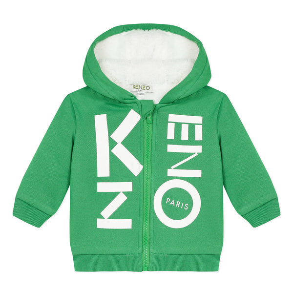 Green zip-up cardigan with logo