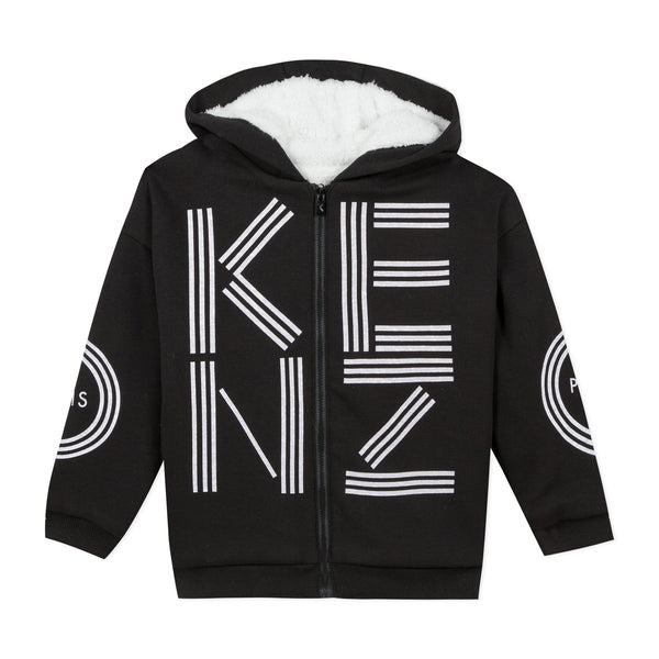 Black sherpa-lined zip-up hoodie