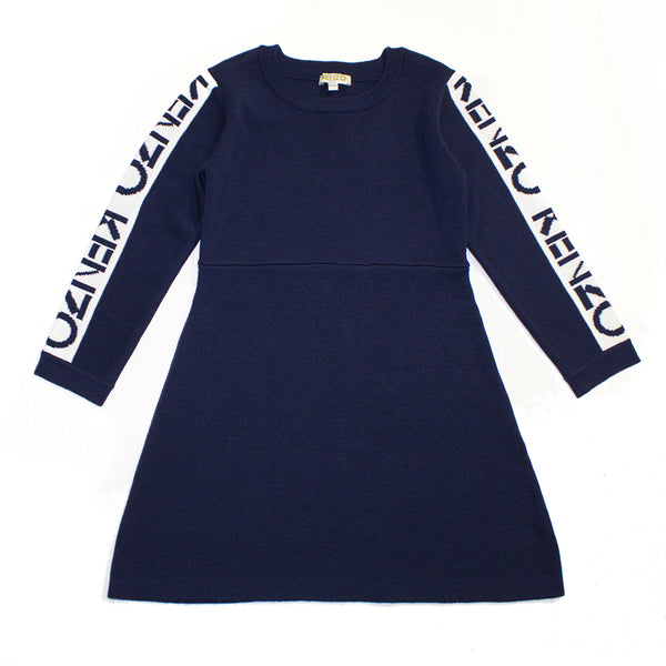 Logo sweater flared dress