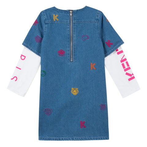 Embroidered denim dress with white long sleeve T-shirt