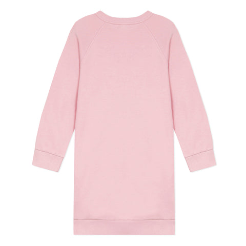 Pink fleece dress with logo