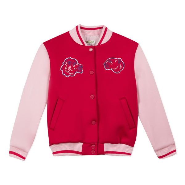 Red and pink teddy collar jacket