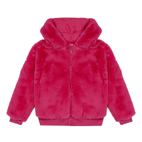 Pink faux fur hooded jacket