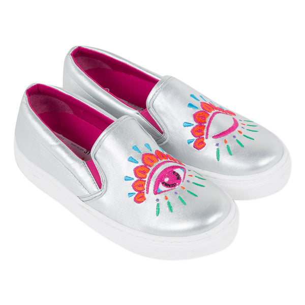 Metallic embroidered slippers