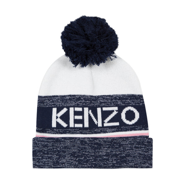 Navy blue and white knit hat with glitter effect
