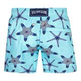 Light blue swimshorts with starfish visual