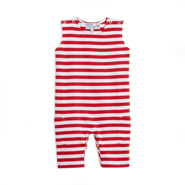 Red and white striped one piece