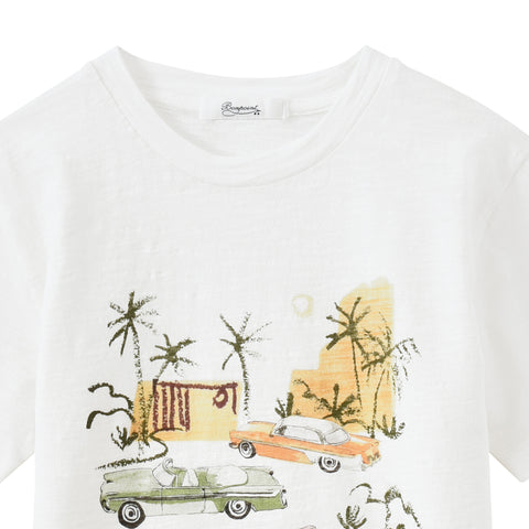 Car silkscreen t-shirt milk white
