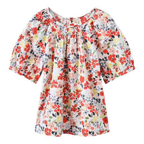 Smocked blouse grenadine flower