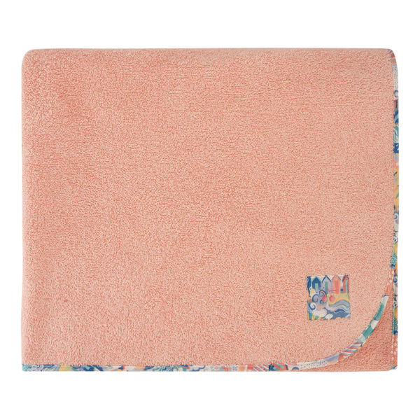 Girls bath towel with liberty fabric piping salmon