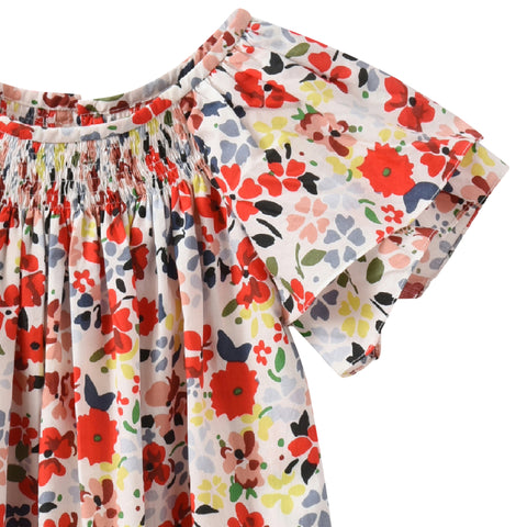 Dress with short ruffled sleeves grenadine flower