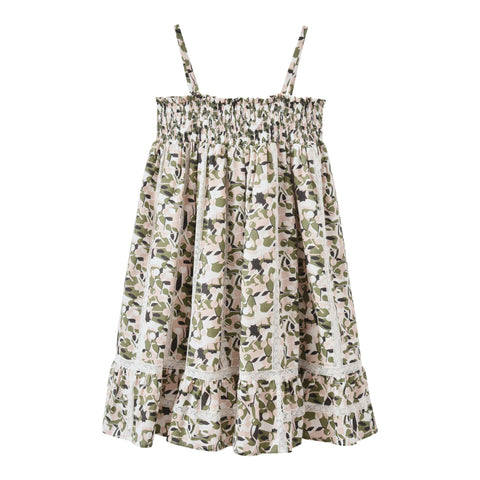 Long smocked dress dark khaki