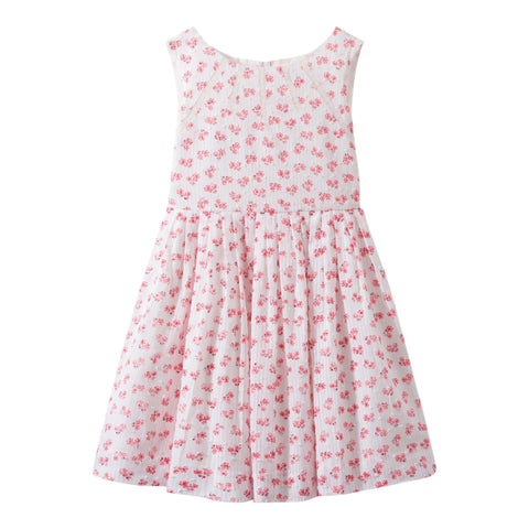 Printed dotted swiss dress natural white
