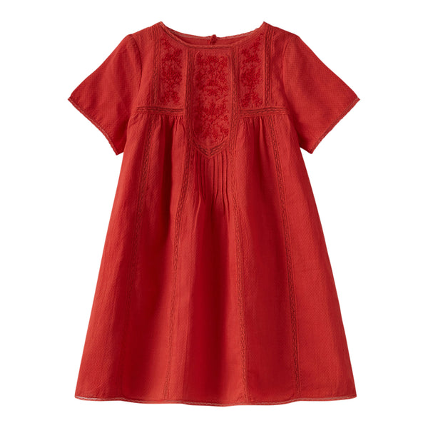 Dress with lace insert poppy red