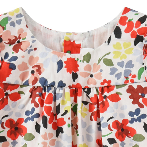 Printed poplin dress grenadine flower