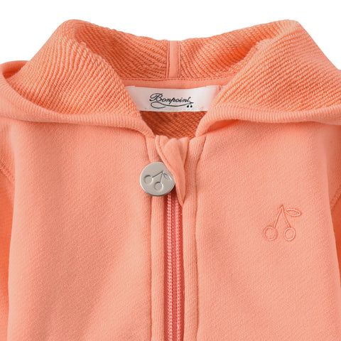 Zipped fleece sweatshirt apricot