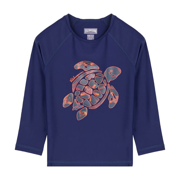 Navy blue rashguard with turtle visual