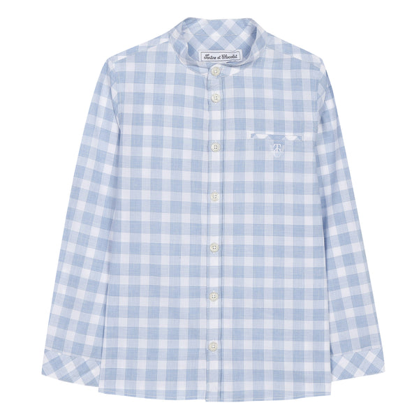 Blue shirt with marl check