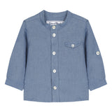 Blue linen button-neck shirt