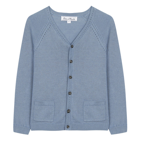 Royal blue linen cardigan