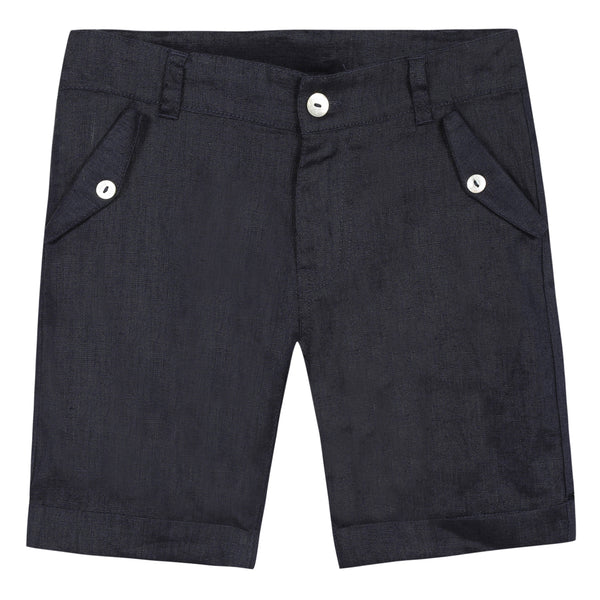 Blue shorts in lightweight linen