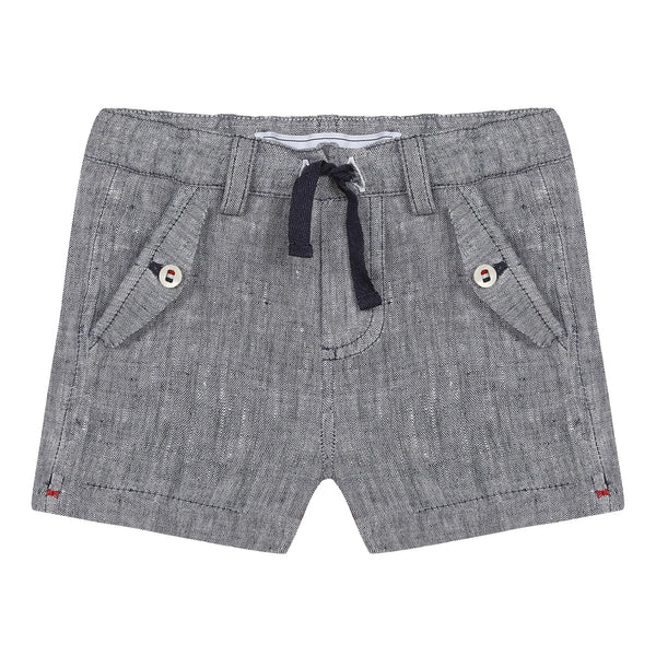 Navy shorts in slub linen