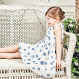 Blue polka dots pinafore dress
