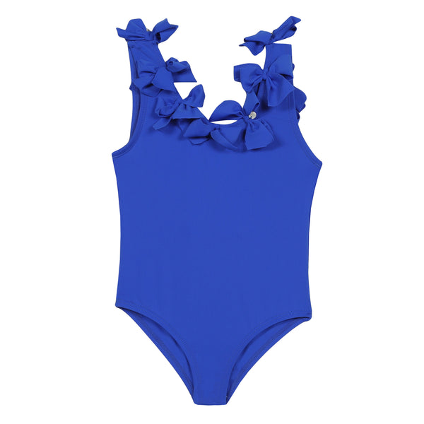 Navy blue 1-pc swimsuit with bows