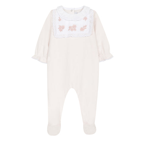 Embroidered light pink footie pajamas