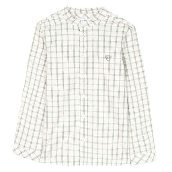 Mid grey marl checked shirt with mandarin collar