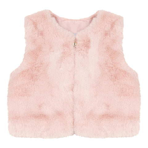 Mid pink faux fur sleeveless jacket