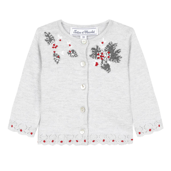 *NEW* Light grey marl cardigan with holly flower embroidery