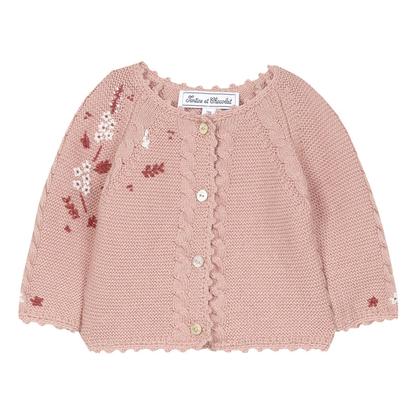 Mid pink cardigan with floral embroidery